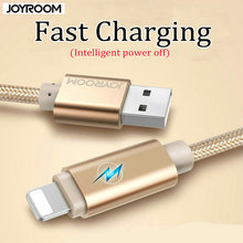100% Original JOYROOM 1/2M metal fast charging Cable For iphone 6 6S for apple ipad air1/2/3 cable for ipad mini LED Data Cable