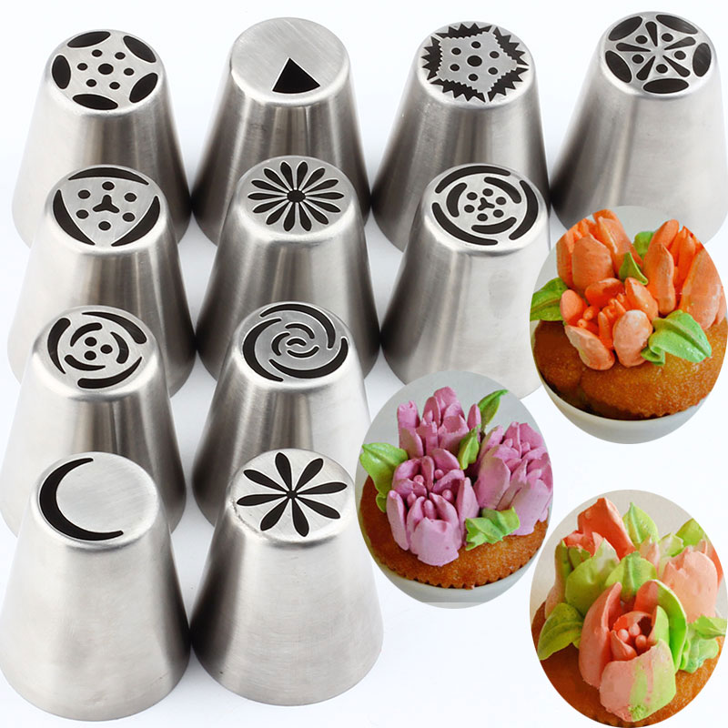 11Pcs Russian Pastry Tips Stainless Steel Cream Tulip Icing Piping Nozzles Flower Cupcake Cake Decorating Kitchen Bakeware Tools