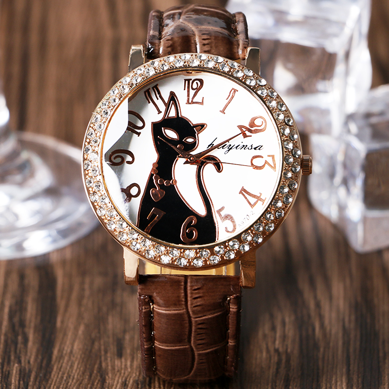 Lovely Black Crystal Cat Round Dial Quartz Watch Women Watch Ladies PU Leather Strap Gift Bracelet 2017 New Arrive Fashion fashion round crystal dial quartz bracelet watch for women pink silver