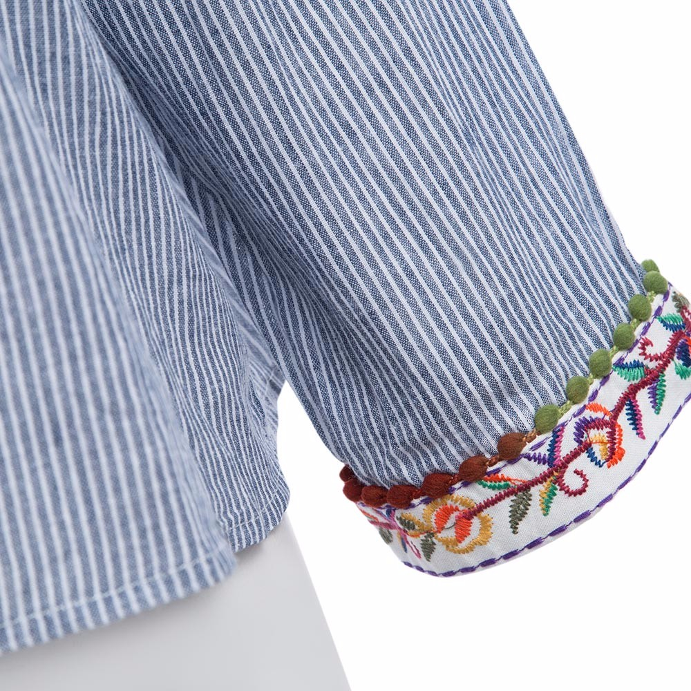 AZULINA Vintage Floral Embroidery Blouse Blusas Women Long Sleeve Blue Striped Spring Summer Cotton Linen ethnic blouse top 2017 8