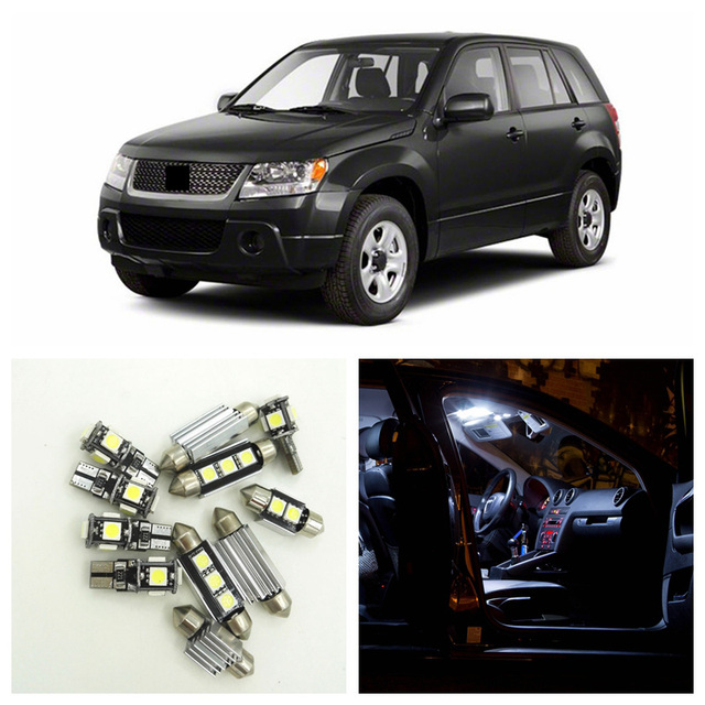 12pcs White Car Lamp LED Light Bulbs Interior Package Kit For 2006-2013 Suzuki Grand Vitara Map Dome Door License Plate Light