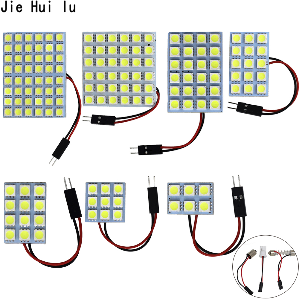 6 9 12 15 24 SMD 5050 LED Auto-Panel Licht Lesen Dome Birne Auto Innen Dach Karte Lampe T10 <font><b>w5W</b></font> C5W C10W Girlande 3 <font><b>Adapter</b></font> Basis image