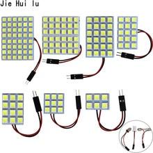 6 9 12 15 24 smd 5050 diodo emissor de luz do painel automático leitura cúpula lâmpada interior do carro telhado mapa lâmpada t10 w5w c5w c10w festão 3 adaptador base