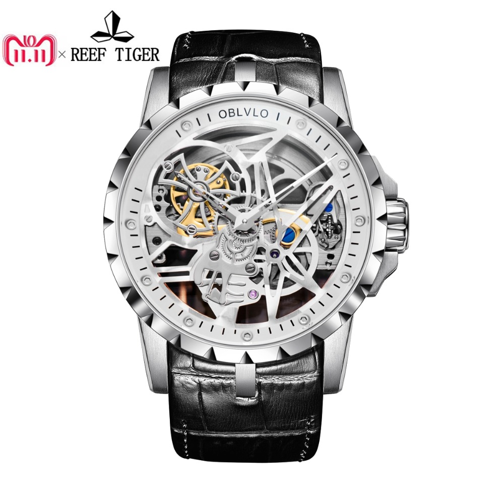 OBLVLO Luxury Open Work Design Mens Watches Skeleton Dial Calfskin Strap Watch Automatic Movement Waterproof Montre Homme RM 1