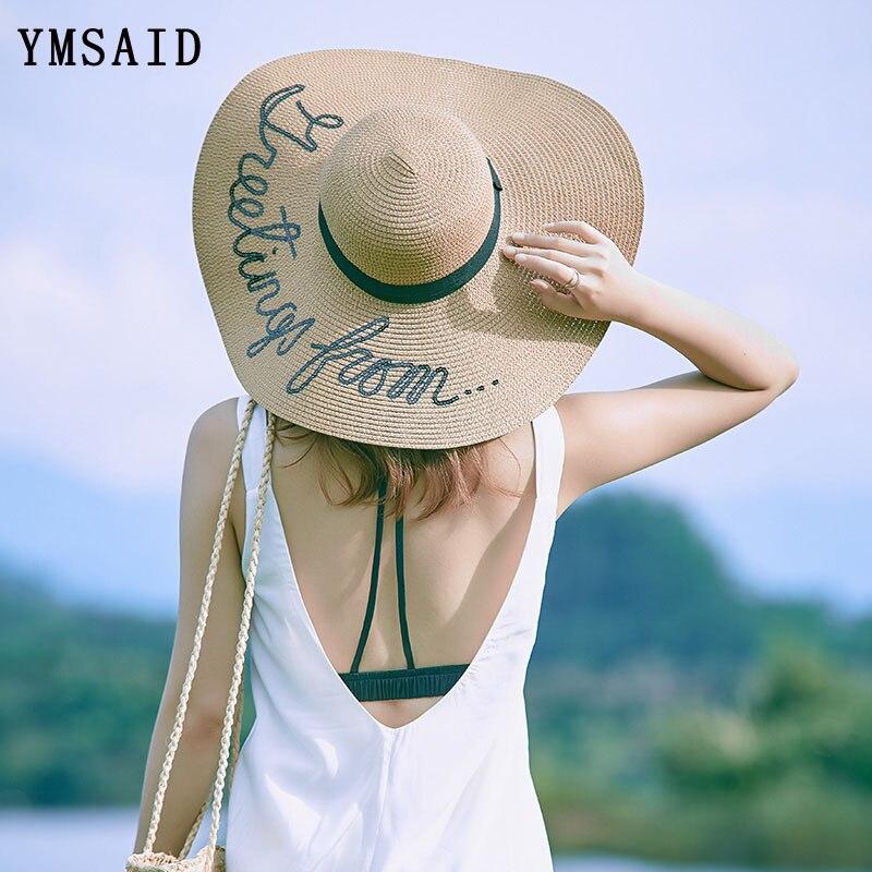 6ffb843cf1ce8 2018 nuevo letras en inglés pintado a mano sombreros de sol grandes ala  gran sombrero de paja de verano playa sombrero para las mujeres plegable  tapa en Las ...
