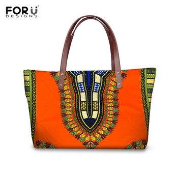 FORUDESIGNS נשים כתף תיק אפריקאית מסורתית מודפס למעלה-ידית תיק עבור גבירותיי אופנה חוף תיק Tote תיק עבור נסיעות bolsa