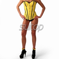 Suitop yellow catsuit latex corset for women