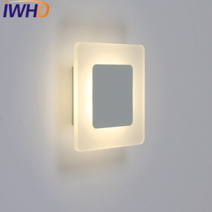 IWHD Acylic LED Wall Lamp For Bedroom Iron Square Modern Wall Light Fixtures Living Room Aplique Luz Pared Restaurant Abajour iron modern led wall lamp fabric lampshade bedside light concise wall sconces fixtures for home lightings lamparas de pared
