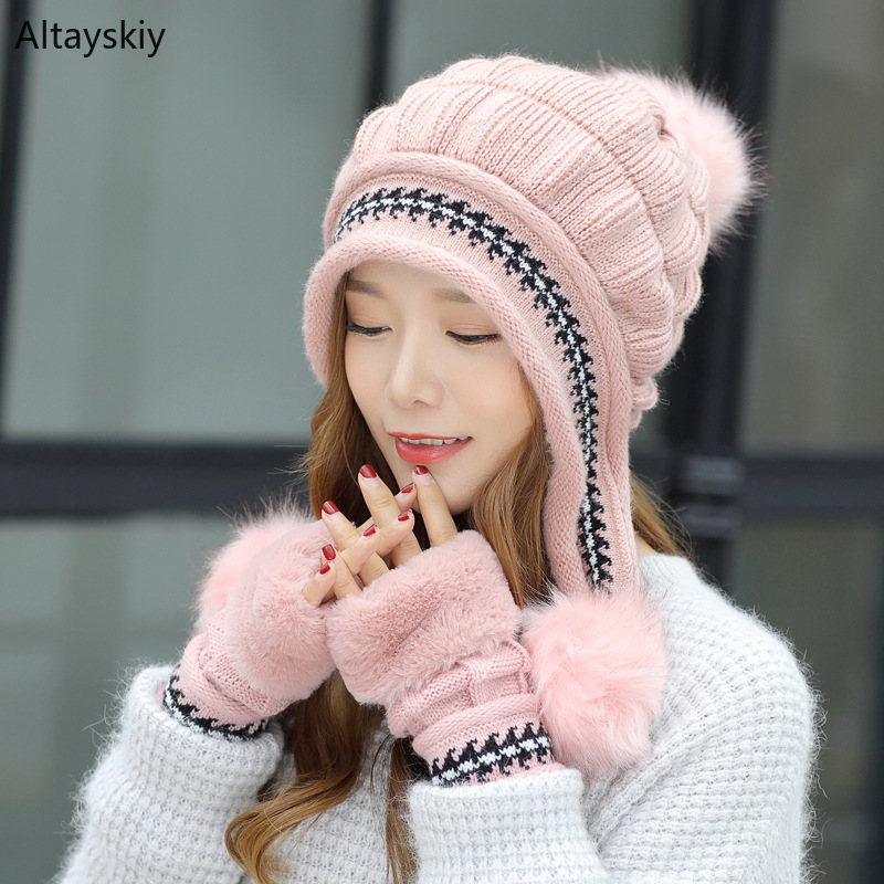 Scarf Sets Women Furry Three Pompoms Gloves Korean Style Kawaii Cute Sweet Womens All-match Solid Knitting Thicker Warm Trendy