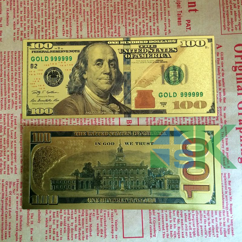 10pcs Lot Us100 Dollar Gold Foil Plated