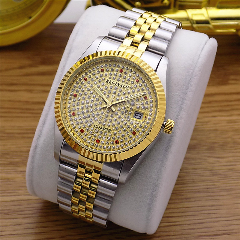 Fashion Reginald Brand Woman Man Lovers Full Golden Luxury Steel Lady Watch Date Crystal Styles Womens Dress Clock Water ProofFashion Reginald Brand Woman Man Lovers Full Golden Luxury Steel Lady Watch Date Crystal Styles Womens Dress Clock Water Proof