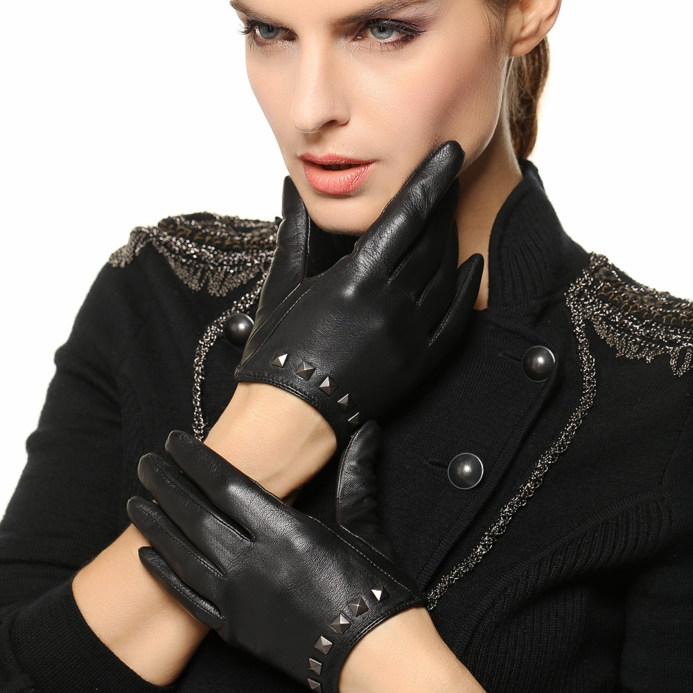 Black leather gloves female - 2017 Special Offer Women Gloves Wrist Rivet Sheepskin Glove Female Thin Genuine Leather Hip Hop