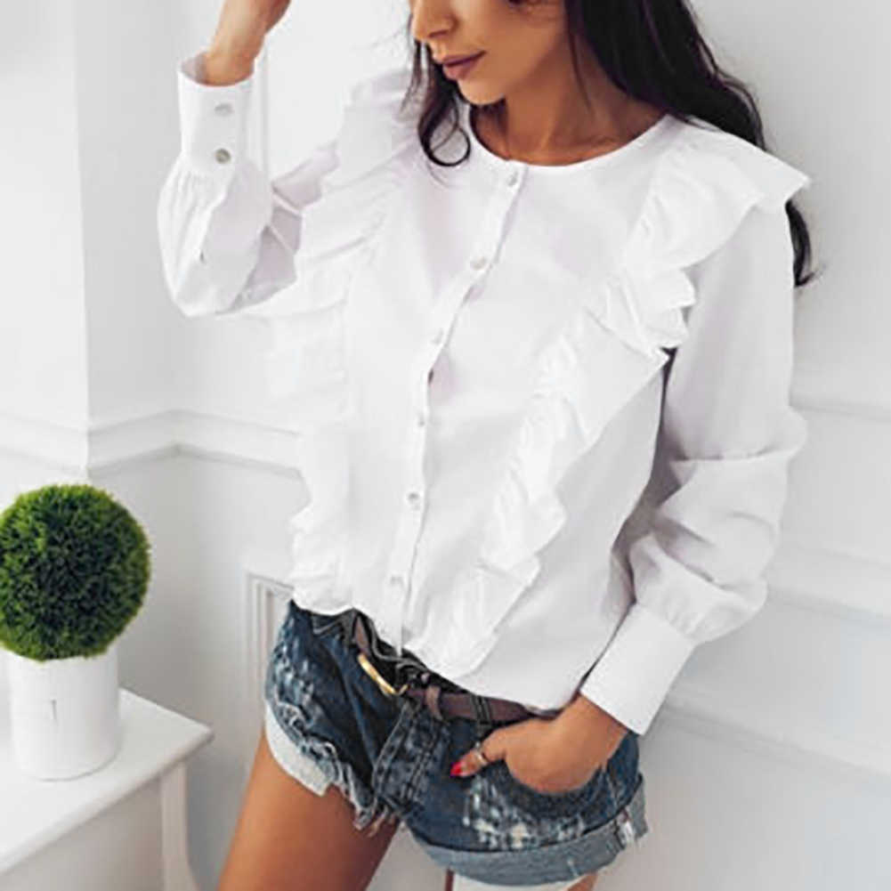 4b4678dcb9f86 ... Hot New Fashion Women Shirt Frill Ruffle Long Sleeve Buttons Autumn Spring  Ladies Blouse ...