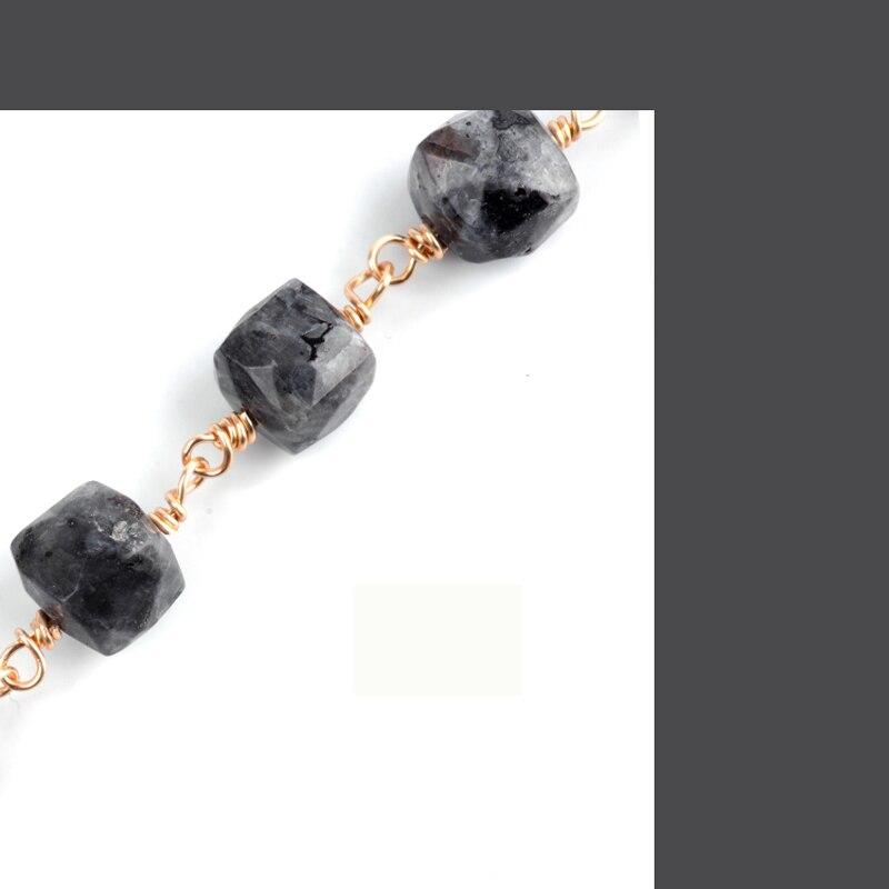 BOJIU Top Qualität Anhänger Halskette Natürliche Platz Stein Grau Quaste Runde Stein Anhänger Kabel Kette Lange Frauen Halskette NKS100