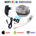 WIFI 4M 5M 8M  RGB LED Strip Tape Lighting Waterproof IP65 10M 5050 SMD LED Light DC12V  With Wifi controller and Adapter