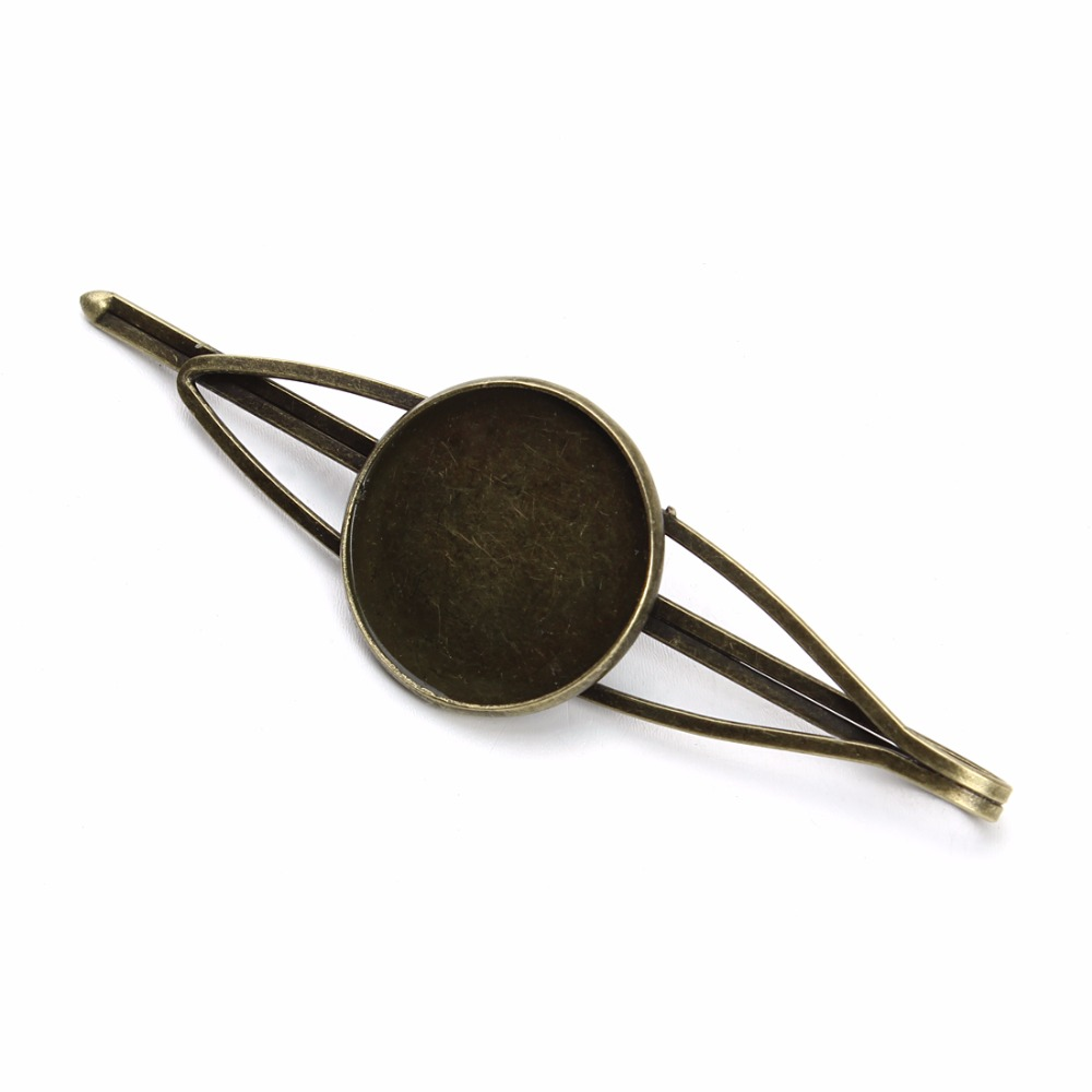 10pcs/lot 20mm Copper Antique Bronze Blank Hairpin Cabochon Setting Round Hair Snap Clips Cameo Bezel Base DIY Hair Making