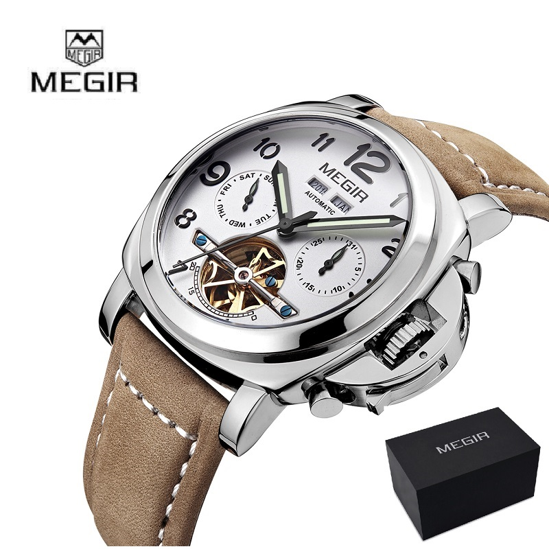 MEGIR Men Genuine Quartz Watch Big Dial Chronograph Military Watches Luminous Relogio Masculino Saat 3406 Mechanical Watch 3206