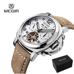 MEGIR Men Genuine Quartz Watch Big Dial Chronograph Military Watches Luminous Relogio Masculino Saat 3406 Mechanical watch 3206