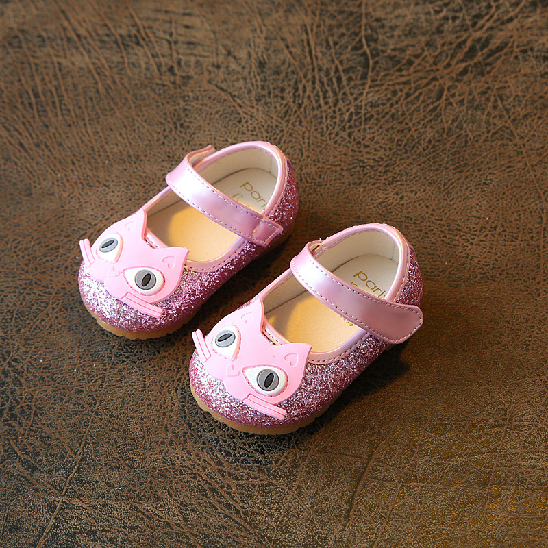 2018 Spring Autumn Children Shoes Cute Baby Shoes Girls Princess Shoes Small Kids Toddler Flats Hook & Loop Cartoon Cat Sequins