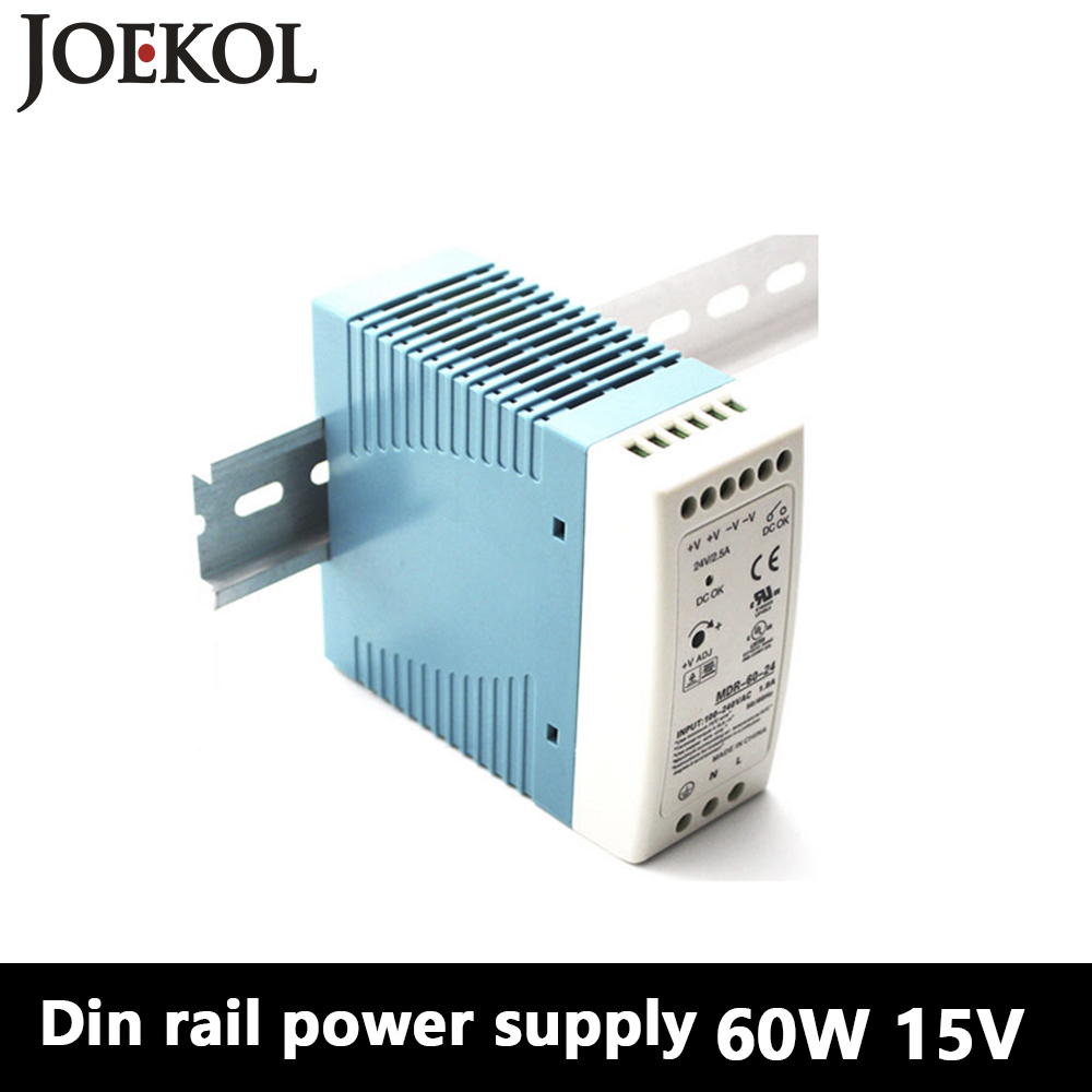 MDR-60 Din Rail Power Supply 60W 15V 4A,Switching Power Supply AC 110v/220v Transformer To DC 15v,ac dc converter mdr 100 din rail power supply 100w 48v 2a switching power supply ac 110v 220v transformer to dc 48v ac dc converter