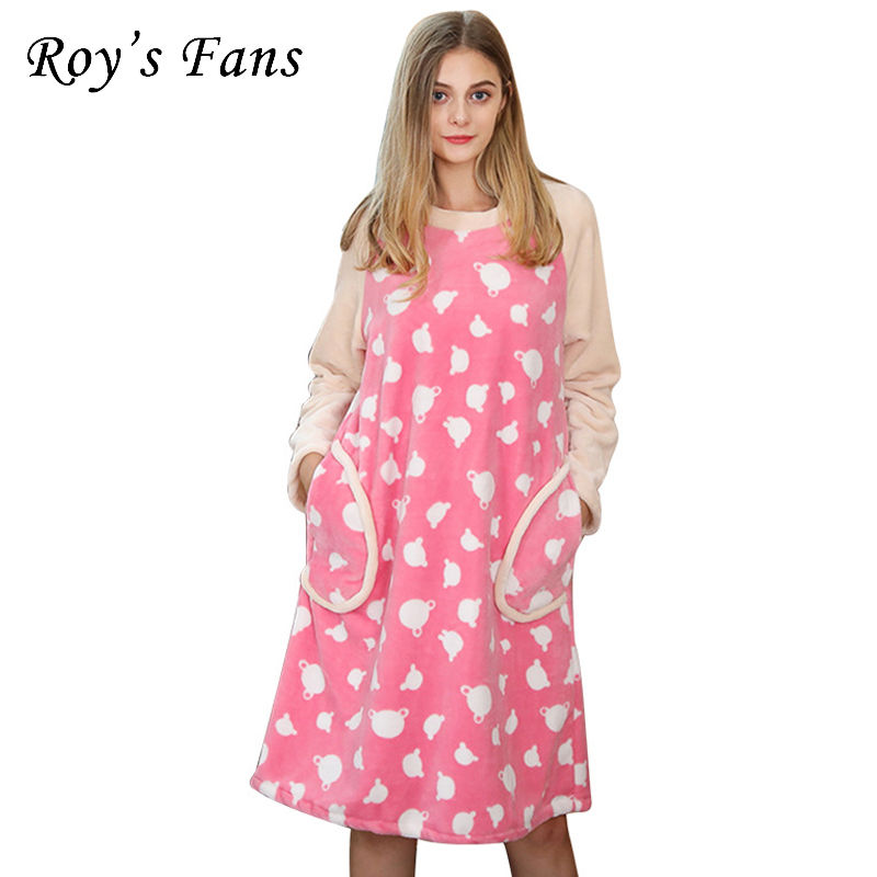 Roy's Fans Fashion Winter Velvet Patchwork   Sleepshirts   Long Sleeve Round Neck Knee-Length Casual Pockets Loose   Nightgowns