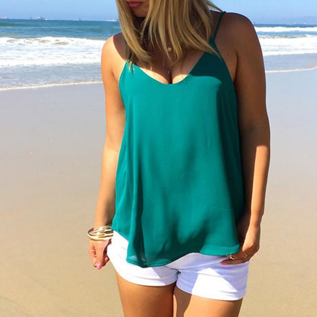 Mulheres summer beach Top desgaste verão Chiffon Camisole Top de alças das mulheres