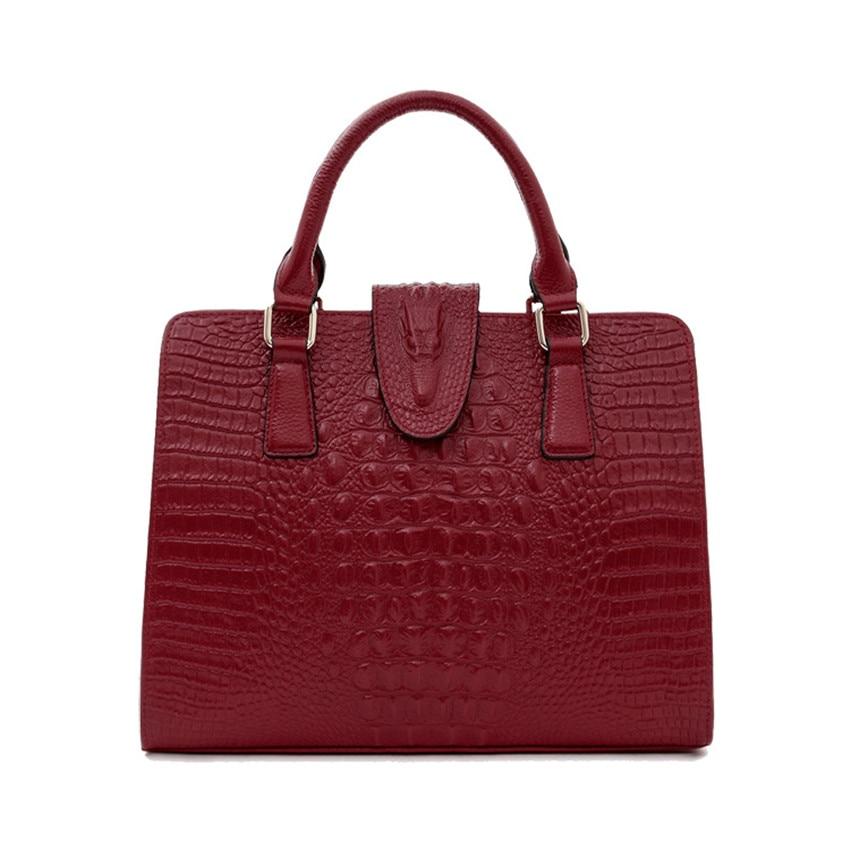 Women Genuine leather fashion handbags large capacity female bag Crocodile pattern design shoulder bag femme de marque luxe cuir ботильоны cosmo femme elane cuir