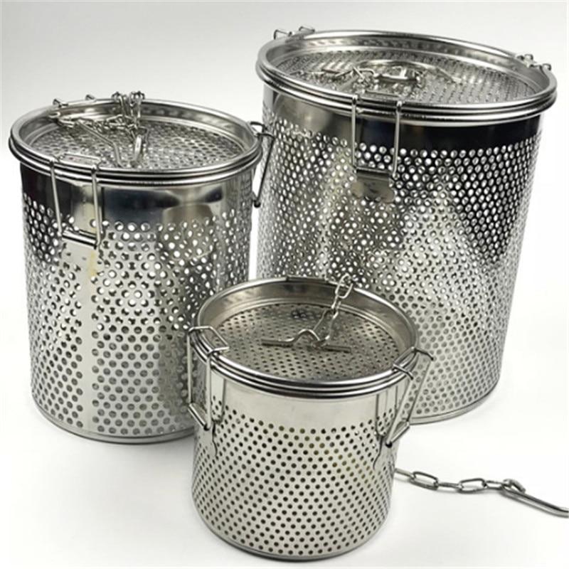 Round Hole 304 Stainless Steel Seasoning Bag Gravy Soup Taste Spice Box Basket Brine Hot Pot Slag Separation Colander Strainers