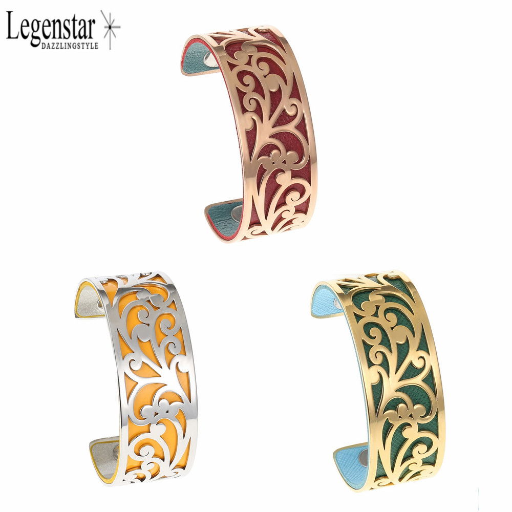 Legenstar Arm Cuff Wide Bracelet Stainless Steel Bracelets Arm Bangles With Reversible Leather Flower Hollow Women men's Jewelry
