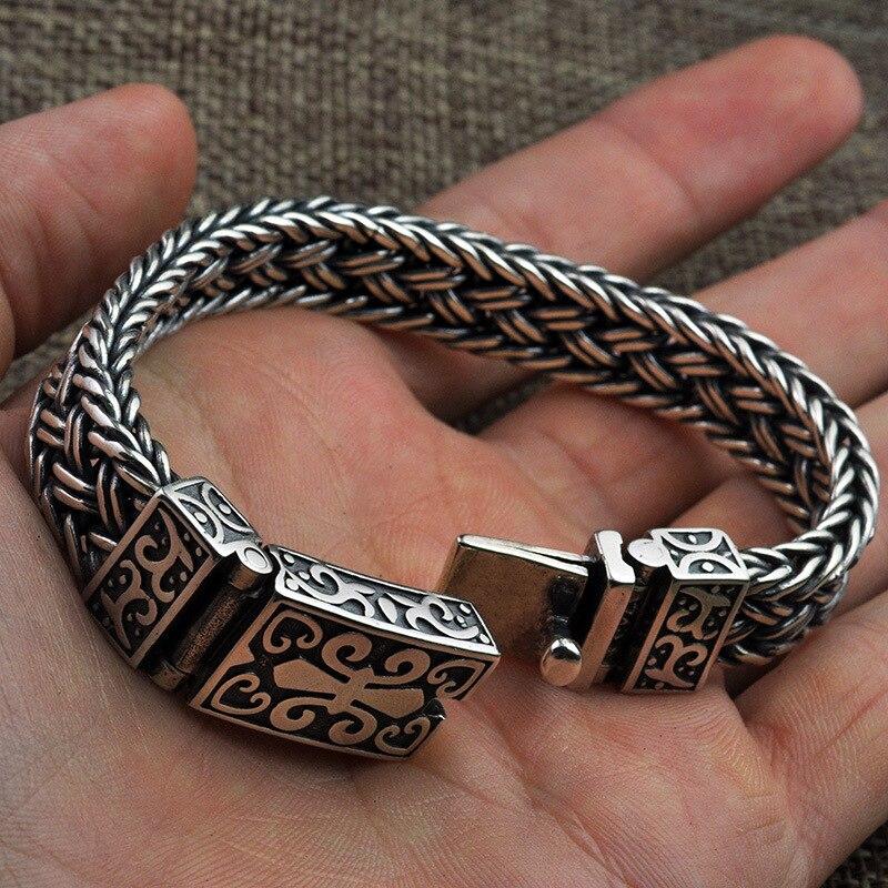 S925 Bracelet en argent Sterling pour hommes et femmes large 11mm Vintage Punk Rock fil-câble lien chaîne Bracelet Thai bijoux en argent