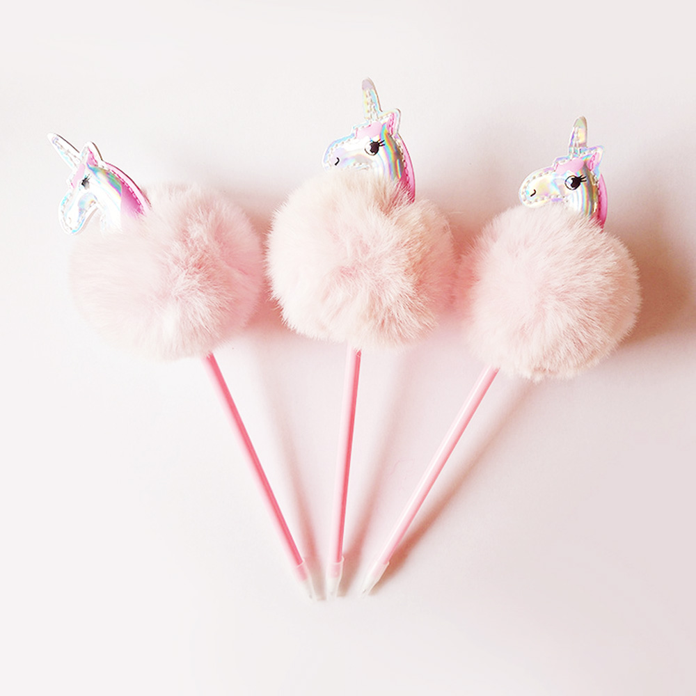 1 Pcs Unicorn Cute Kawaii Plush ball Ballpoint Pen Creative Pink Ball Pens For Kids Writing Korean Stationery Student 20 colors pc korean stationery cute kawaii crayons creative graffiti pens for kids painting drawing supplies student
