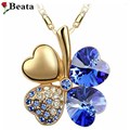Heart Necklace Blue Lucky Four Leaf Clover Pendants Gold Plated Korea Trendy Jewelry  Women Crystal from Swarovski