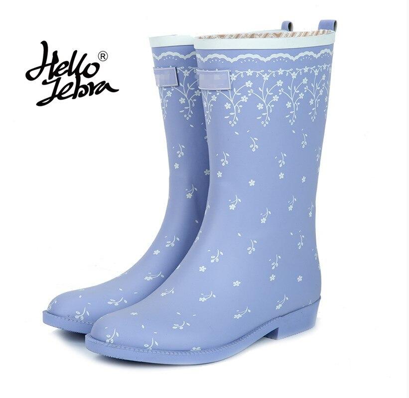 Hellozebra Nature Rubber Cotton Lining Unique Printed Design Removeable Insole Waterproof Rain Boot