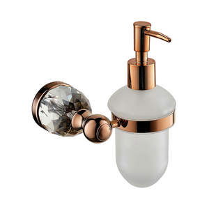 Superior Luxury Crystal Brass Copper Wall Mounted Rose Gold Liquid Soap Dispenser