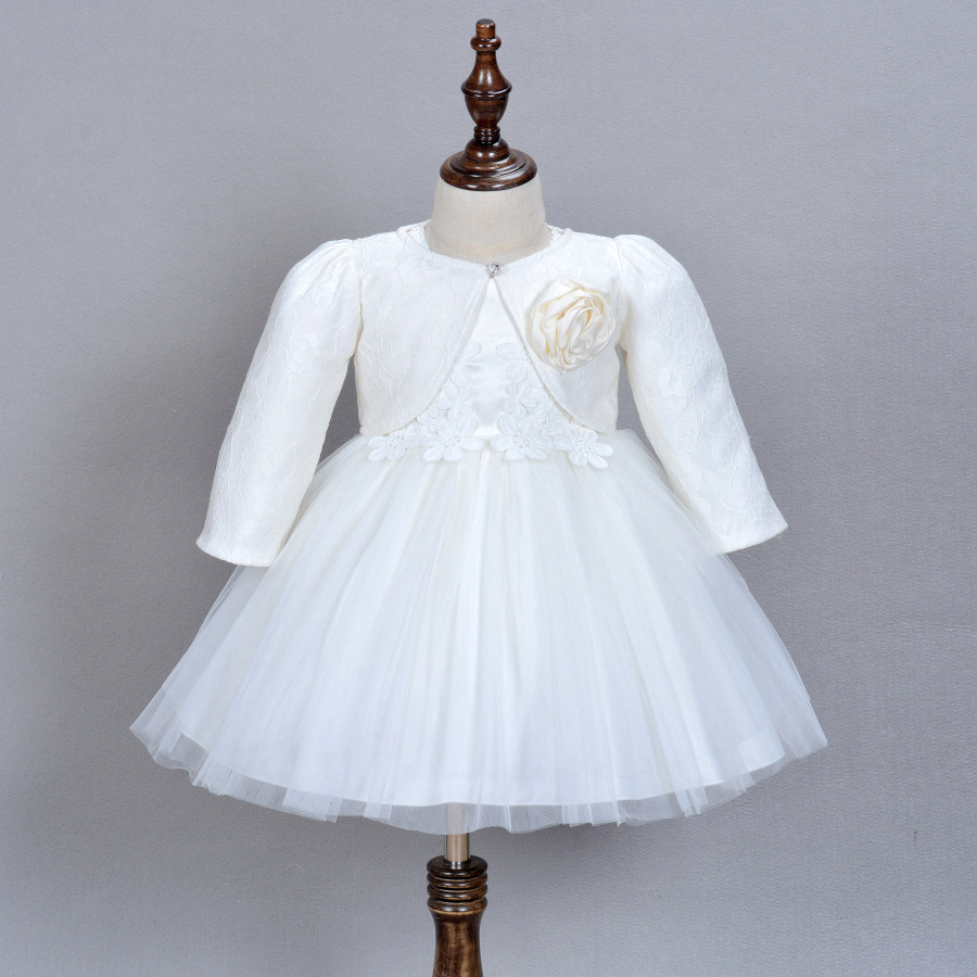 1 Year Old Baby Girl Dress Beige Princess Wedding Birthday ...