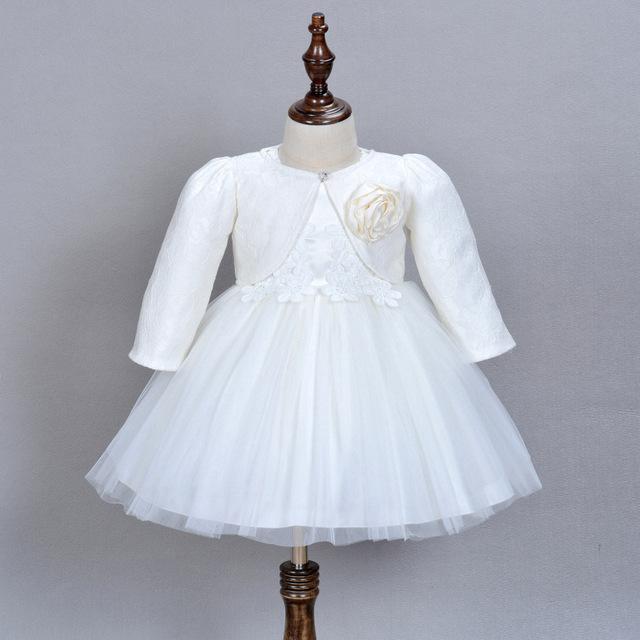 1 anos de idade do bebê girl dress bege aniversário de casamento da princesa vestido formal 2016 da criança roupa do bebê batizado vestidos