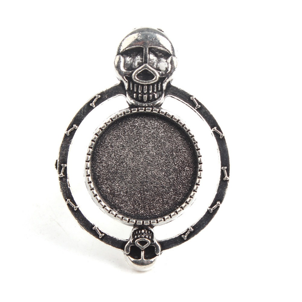 10pcs Wholesale Adjustable Skull Head Pad Blank Double Round Base Ring Setting Fit 18mm Round Glass Cabochon Jewellry Findings