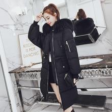 2018 Warm Hooded Fur Collar Cotton Long Parka Plus Size Women Winter Coat Jacket Clothing For Mujer Feminine De Inverno Casaco