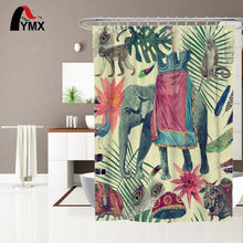 Indian Style Elephant Pattern Extra Wide Printed 100% Polyester Bathroom accessories Shower Curtain With 12 Hooks(China)