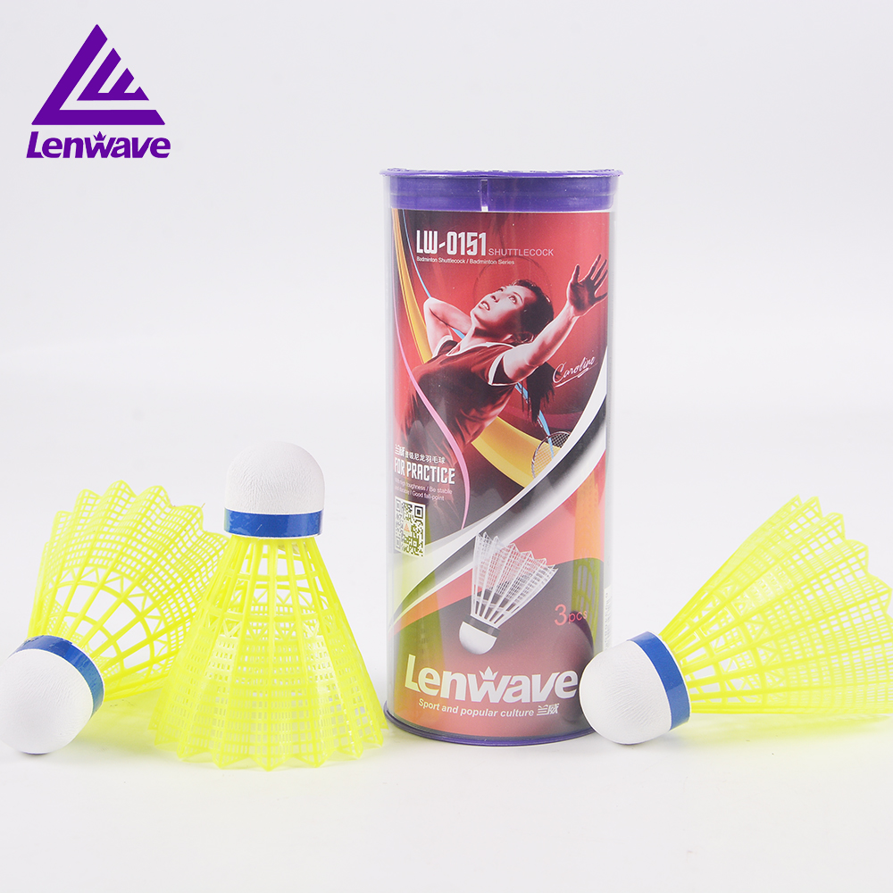 Lenwave Brand 3 pcs/lot Badminton Shuttlecock Sports Resistant Play Nylon Shuttlecocks Hot Sales Yellow Color Badminton Balls