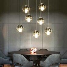 купить Modern luxury mansion glass ball pendant light creative lron LED crystal hanging light kitchen dinner room cafe room bar lamp по цене 7978.57 рублей