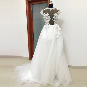 Image 2 - RSW557 Transparent Body Cap Sleeves Detachable Tulle Train Backless Wedding Dress