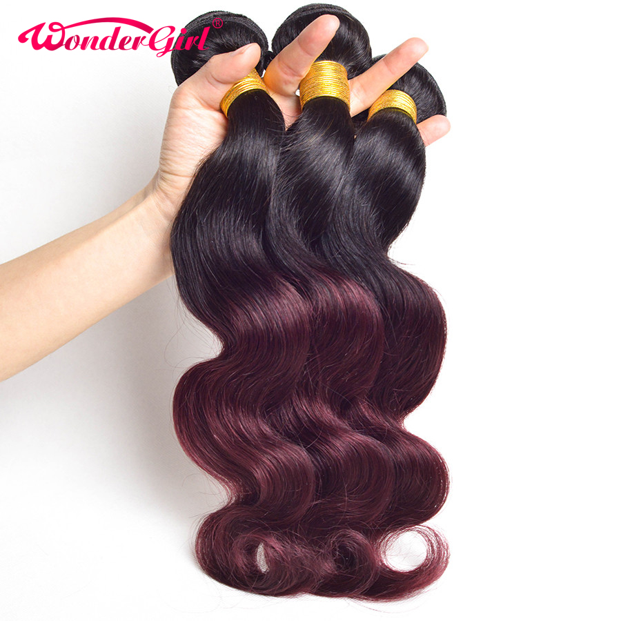 3 Bundle Deals Ombre Brasilian Body Wave Hair Bundles 1B 99J / Burgundy Two Tone Ihmisen hiustenpidennykset Wonder girl Non Remy Hair