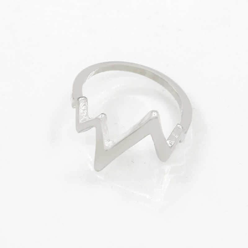 Lightning Ring ECG Heartbeat Rings Gold Silver Black Charm Women Men Fashion Jewelry Finger Accessories