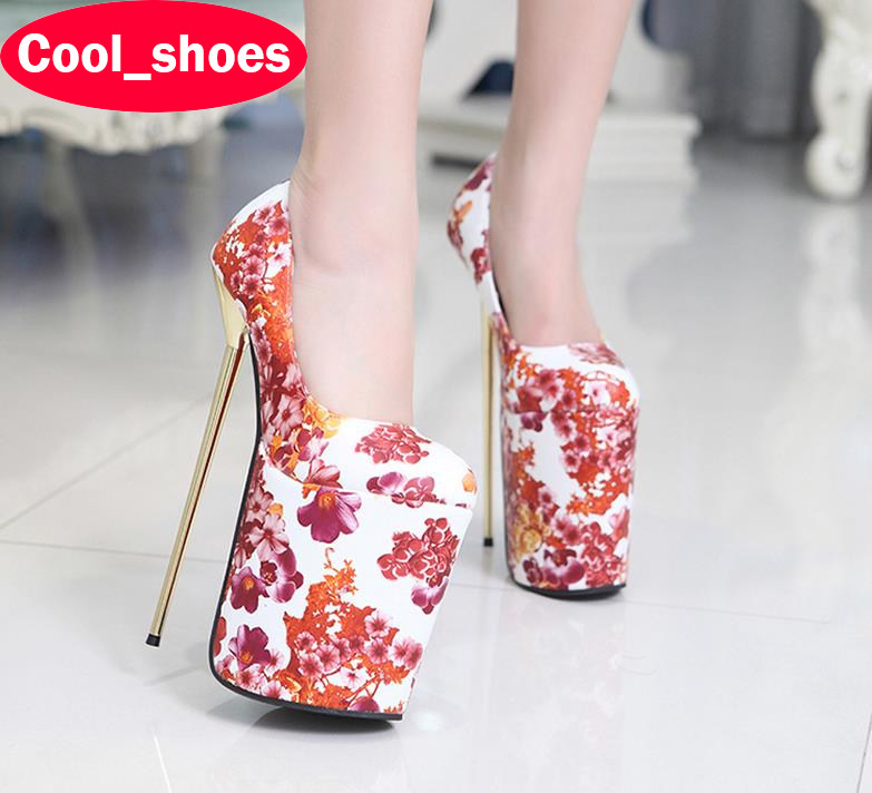 ФОТО extreme heel 23 cm platform high heels stiletto club party fashion round toe shoes women sexy pumps brand new female 123