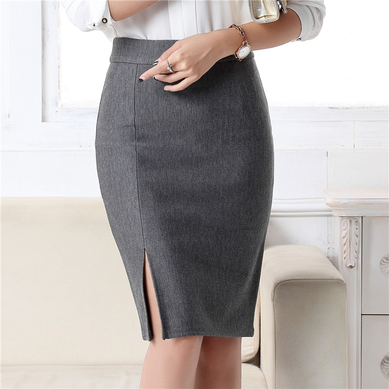 2019 New Fashion Women Office Formal Pencil Skirt Spring Summer Elegant Slim Front Slit Midi Skirt Black/Gray/Red OL Skirts