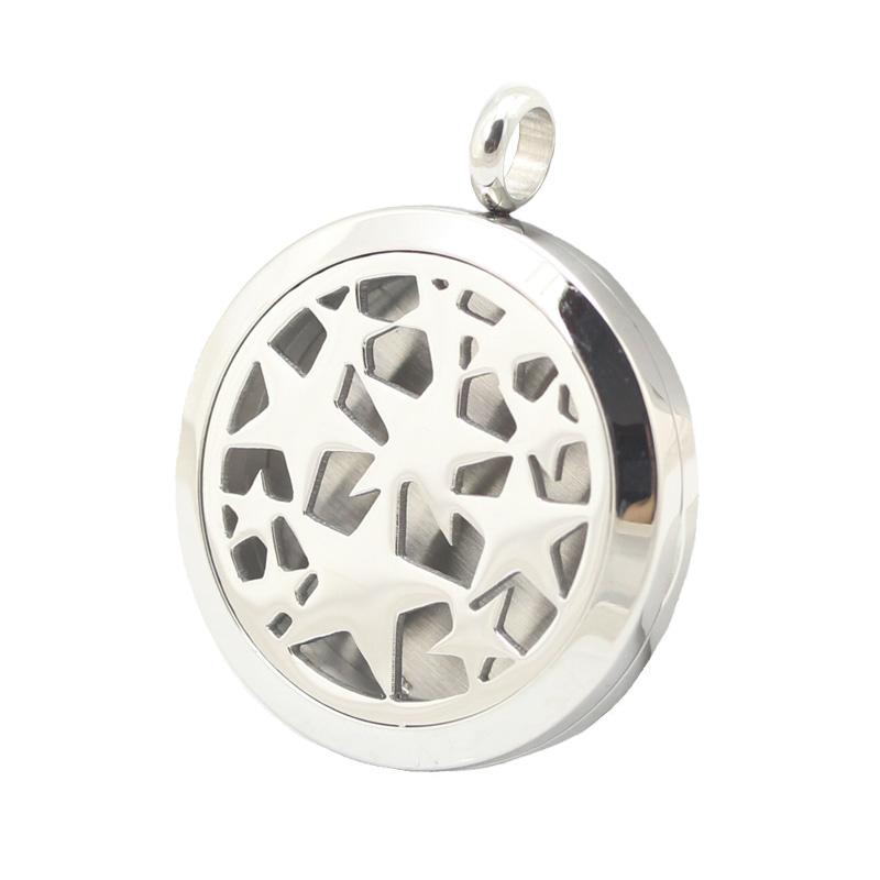 10pcs 30mm Stainless Steel Stars Premium Aromatherapy Essential Oil Diffuser Locket Pendant Women Necklace