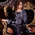 XIFENNI Marca Mulheres Conjuntos De Pijama De Seda Pijamas De Seda De Cetim Cinza Escuro Imitação Bordado Lace Pijamas da Longo-Luva Pijamas 9113