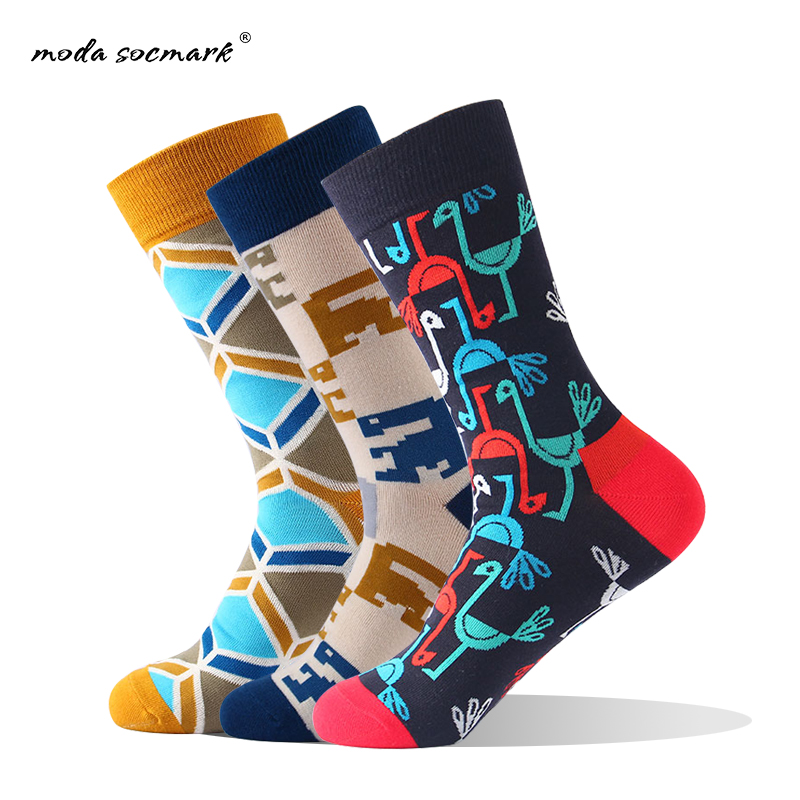 Moda Socmark Brand New Casual Happy Socks Men Football Stripe Fashion Crew Socks Harajuku Funny Man Socks Calabasas Calcetines