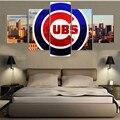 Chicago CUBS Cópias Da Lona de 5 Peças Pintura de Parede Art Home Decor Esporte Painéis Quadro de Cartaz Para A Sala de estar